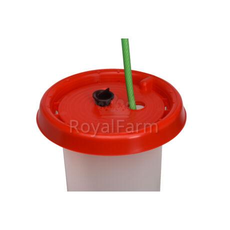 műanyag itató, 10 literes, markolattal és menetes dugóval
