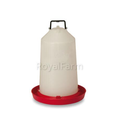 Műanyag itató, 15 literes, felfüggeszthető, alsó feltöltési lehetőséggel és menetes dugóval